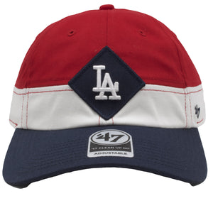 on the front of the los angeles dodgers strapback hat is the los angeles dodgers logo embroidered in white