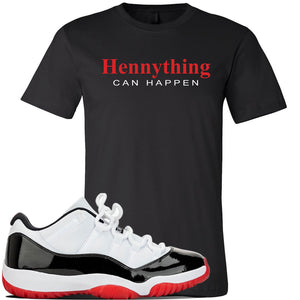 Jordan 11 Low White Black Red Sneaker Black T Shirt | Tees to match Nike Air Jordan 11 Low White Black Red Shoes | HennyThing Is Possible