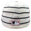 the back of the 1910 World Series Philadelphia Athletics Vintage MLB Fitted Cap | White and Black Stripe Retro Philly Baseball Fitted Cap has the mlb logo embroidered in white, navy blue and red