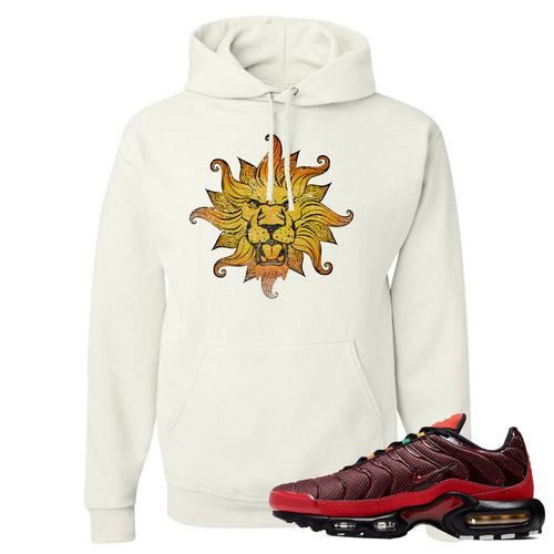 printed on the front of the air max plus sunburst sneaker matching white pullover hoodie is the vintage lion head logo