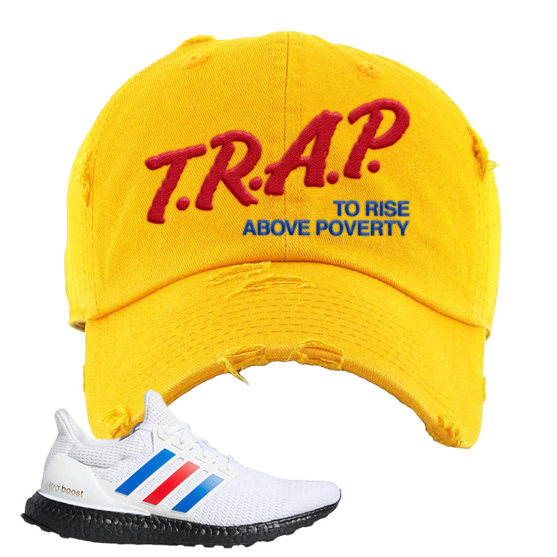 Ultra Boost White Red Blue Distressed Dad Hat | Gold, Trap To Rise Above Poverty