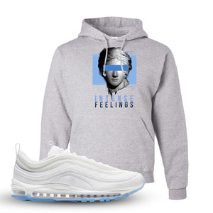 Air Max 97 White/Ice Blue/White Sneaker Ash Pullover Hoodie | Hoodie to match Nike Air Max 97 White/Ice Blue/White Shoes | Intense Feelings