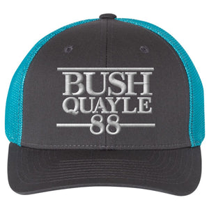 Standard Issue Bush Quayle 1988 Campaign Grunt Life Charcoal/Teal Trucker Flexfit Hat