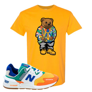 997S Multicolor Sneaker Gold T Shirt | Tees to match New Balance 997S Multicolor Shoes | Sweater Bear