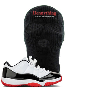 Jordan 11 Low White Black Red Sneaker Black Ski Mask | Winter Mask to match Nike Air Jordan 11 Low White Black Red Shoes | HennyThing Is Possible