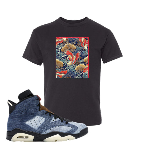 Air Jordan 6 Washed Denim Crane Over Water Black Sneaker Hook Up Kid's T-Shirt
