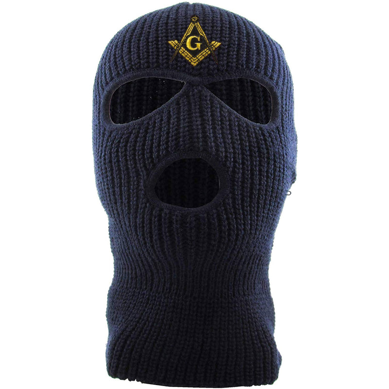 Embroidered on the front of the navy masonic ski mask is the mason square compass logo embroidered in gold and black