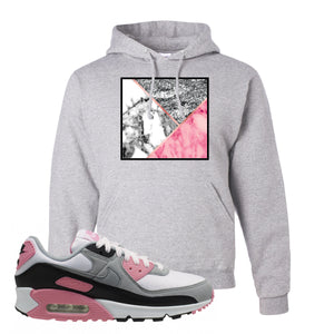 WMNS Air Max 90 Rose Pink Marble Mosaic Ash Pullover Hoodie To Match Sneakers