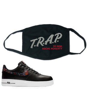 Air Force 1 Low Black Floral Face Mask | Trap To Rise Above Poverty, Black