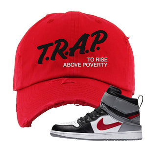 Air Jordan 1 Flyease Distressed Dad Hat | Red, Trap To Rise Above Poverty