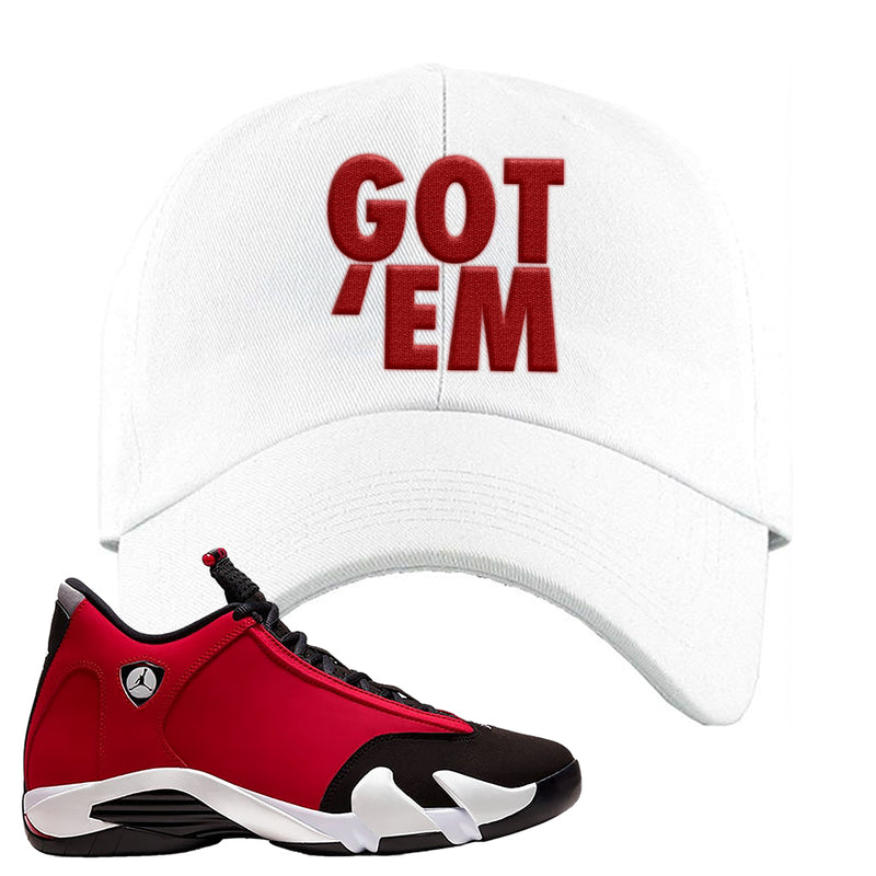 Air Jordan 14 Gym Red Dad Hat | White, Got Em