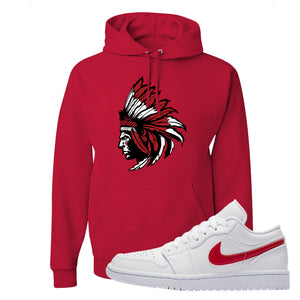 Air Jordan 1 Low White and Varsity Red Hoodie | Indian Chief, Red