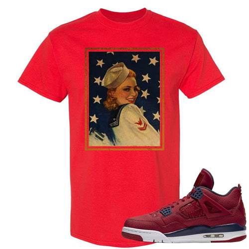 Jordan 4 FIBA Navy Sailor Pin Up Woman Red Sneaker Matching Tee Shirt