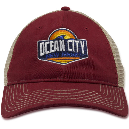 Ocean City, New Jersey Sunset Wave Cardinal Red / Khaki Mesh-Back Trucker Snapback Hat