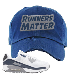 Air Max 90 White / Particle Grey / Obsidian Distressed Dad Hat | Navy, Runners Matter