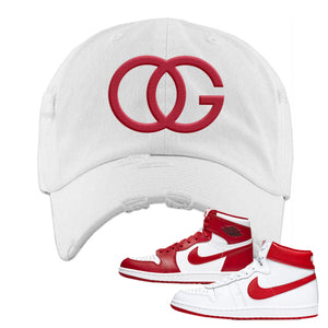 Jordan 1 New Beginnings Pack Sneaker White Distressed Dad Hat | Hat to match Nike Air Jordan 1 New Beginnings Pack Shoes | OG