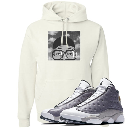 Jordan 13 Atmosphere Grey Spike Hat and Glasses White Hoodie