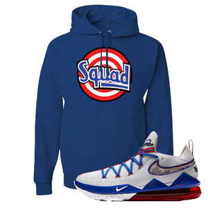 LeBron 17 Low Tune Squad Sneaker Royal Blue Pullover Hoodie | Hoodie to match Nike LeBron 17 Low Tune Squad Shoes | Squad