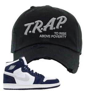 Air Jordan 1 Co.jp Midnight Navy Distressed Dad Hat | Black, Trap To Rise Above Poverty
