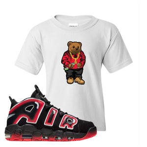 Air More Uptempo Laser Crimson Biggie Bear White Sneaker Hook Up Kid's T-Shirt