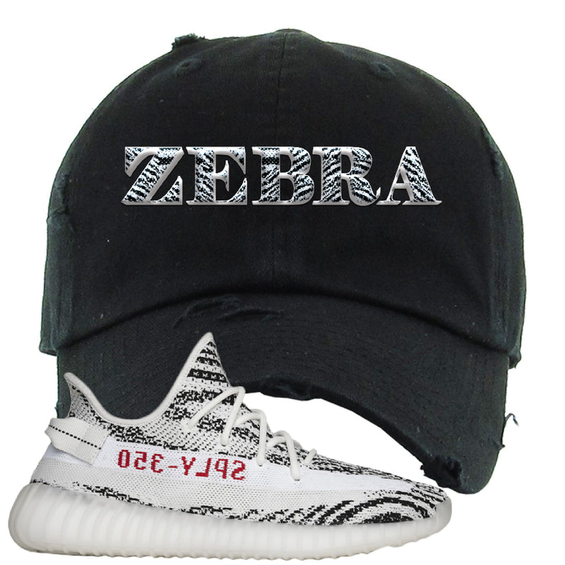 Yeezy 350 V2 Zebra Distressed Dad Hat | Black, Zebra