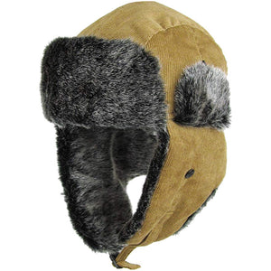 the khaki corduroy vegan fur trapper hat has a khaki exterior and a gray vegan fur interior
