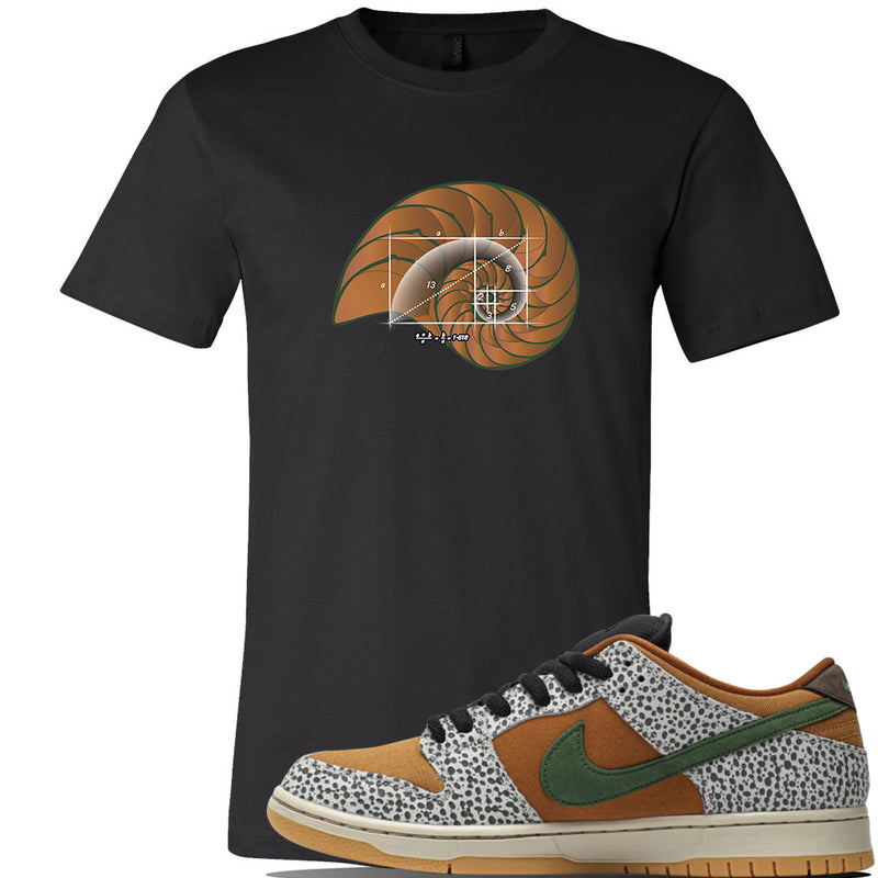SB Dunk Low Safari Sneaker Black T Shirt | Tees to match Nike SB Dunk Low Safari Shoes | Golden Ratio Shell