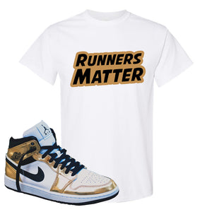 Air Jordan 1 Mid SE Metallic Gold T Shirt | Runners Matter, White