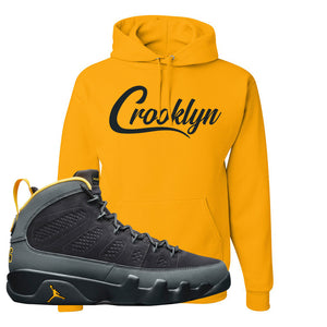 Air Jordan 9 Charcoal University Gold Hoodie | Crooklyn, Gold