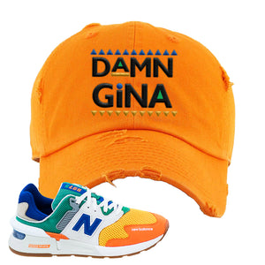 997S Multicolor Sneaker Orange Distressed Dad Hat | Hat to match New Balance 997S Multicolor Shoes | Damn Gina