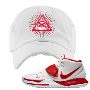 Kyrie 6 White University Red Distressed Dad Hat | All Seeing Eye, White