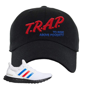 Ultra Boost White Red Blue Dad Hat | Black, Trap To Rise Above Poverty