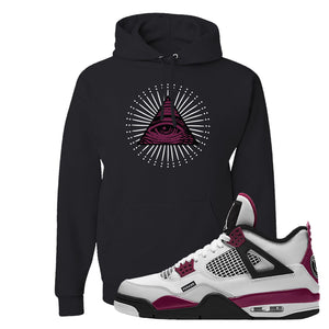 Air Jordan 4 PSG Paname Pullover Hoodie | All Seeing Eye, Black