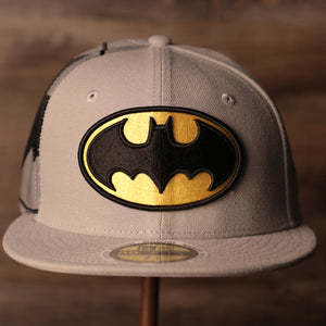 Batman Grey Bottom Fitted Cap | Batman Superhero Gray Bottom Fitted Hat the front of this cap has the classic batman logo