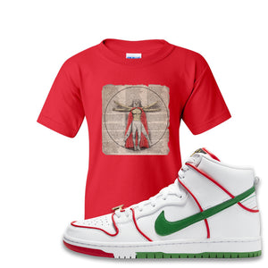 Paul Rodriguez's Nike SB Dunk High Sneaker Red Kid's T Shirt | Kid's Tees to match Paul Rodriguez's Nike SB Dunk High Shoes | Luchador Davinci