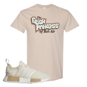 NMD R1 Chalk White Sneaker Sand T Shirt | Tees to match Adidas NMD R1 Chalk White Shoes | Fresh Princess Of Bel Air