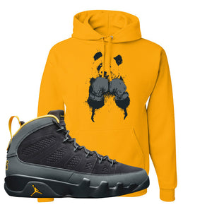 Air Jordan 9 Charcoal University Gold Hoodie | Boxing Panda, Gold