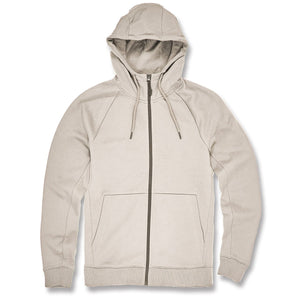 This cream colored Jordan Craig zip up hoodie is cream with a gray colored zipper down the center