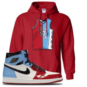 Air Jordan 1 Fearless Jersey Split Red Made to Match Pullover Hoodie