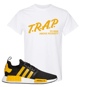 NMD R1 Active Gold T Shirt | White, Trap To Rise Above Poverty