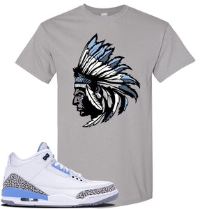 Air Jordan 3 UNC Sneaker Gravel T Shirt | Tees to match Nike Air Jordan 3 UNC Shoes | Indian Chief