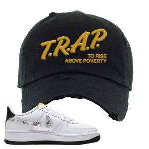 Air Force 1 Distressed Dad Hat | Black, Trap To Rise Above Poverty