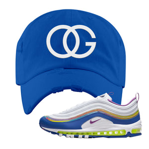 Air Max 97' 'Easter' Sneaker Royal Distressed Dad Hat | Dad Hat to match Nike Air Max 97' 'Easter' Shoes | OG