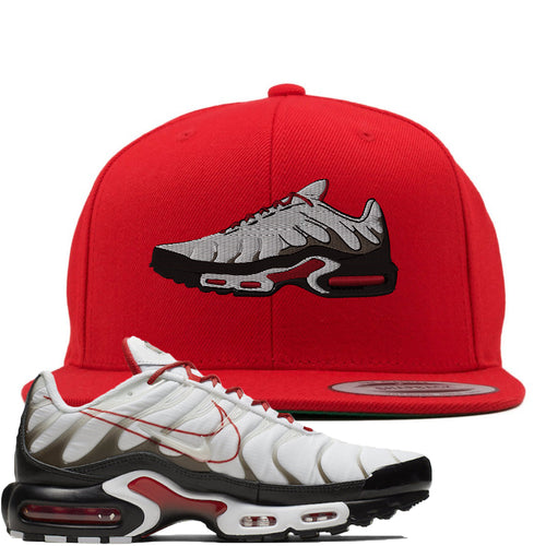 Nike Air Max Plus White University Red Sneaker Match Shoe Red Snapback