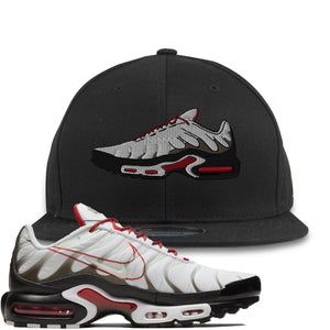 Nike Air Max Plus White University Red Sneaker Hook Up Shoe Black Snapback