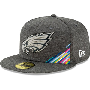 Embroidered on the front of the Philadelphia Eagles 2019 Crucial Catch 59Fifty Fitted Cap is the Philadelphia Eagles logo in a tonal gray with the 2019 Crucial Catch multicolor ribbon on the bottom left corner