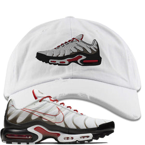 Nike Air Max Plus White University Red Sneaker Hook Up Shoe white Distressed Dad Hat