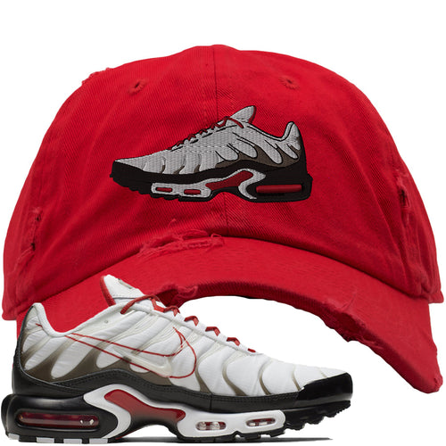 Nike Air Max Plus White University Red Sneaker Match Shoe Red Distressed Dad Hat