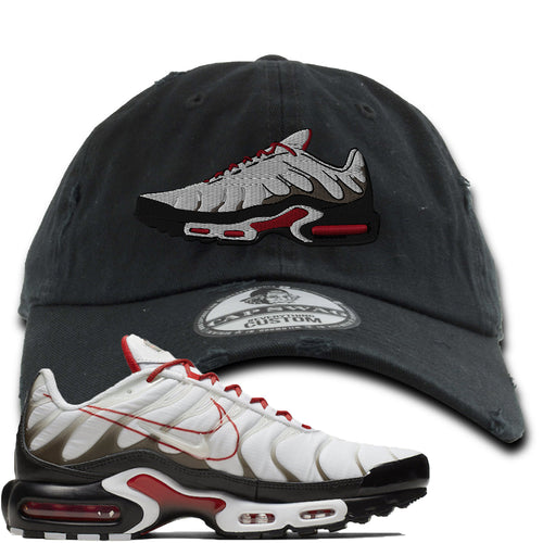 Nike Air Max Plus White University Red Sneaker Match Shoe Black Distressed Dad Hat