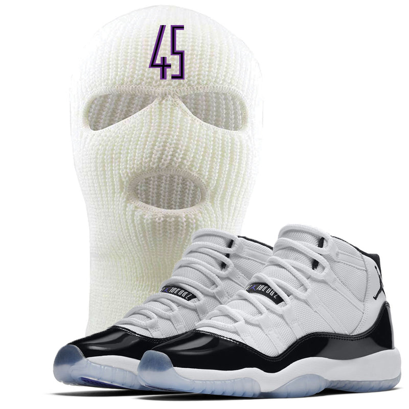 This white Jordan 11 Concord 45 ski mask is a great match for the Jordan 11 Concord sneakers